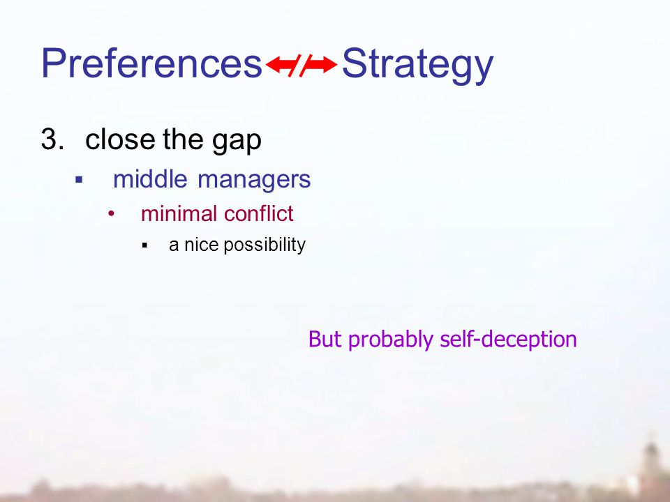 Preferences Strategy 3.close the gap  middle managers minimal conflict  a nice possibility But probably self-deception
