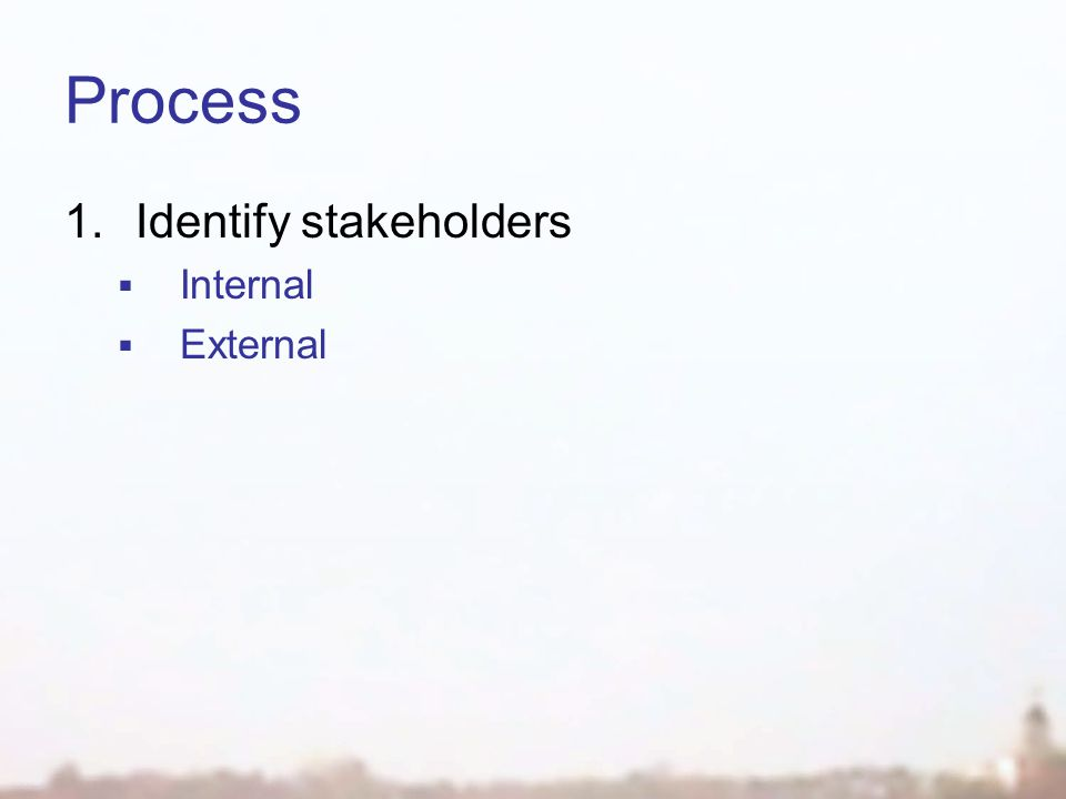 Process 1.Identify stakeholders  Internal  External