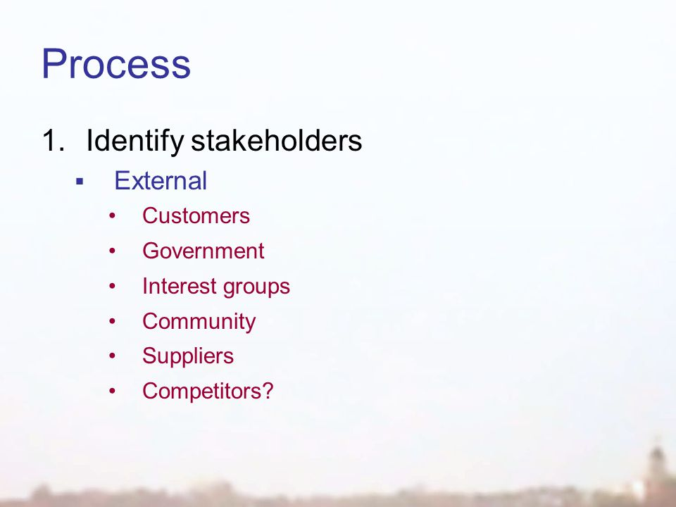 Process 1.Identify stakeholders  External Customers Government Interest groups Community Suppliers Competitors