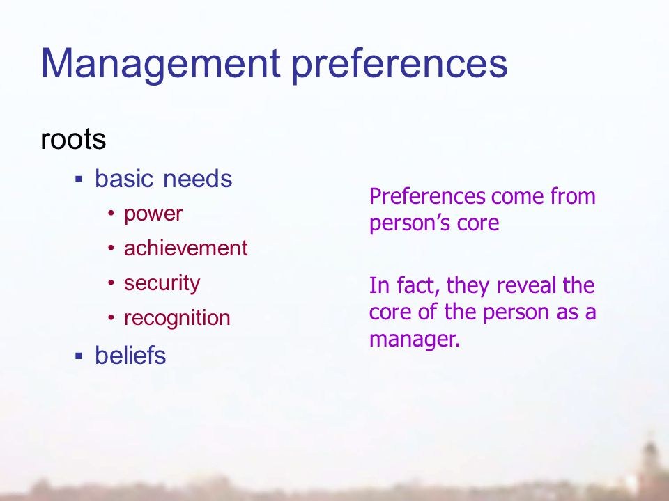 Management preferences roots  basic needs power achievement security recognition  beliefs Preferences come from person's core In fact, they reveal the core of the person as a manager.