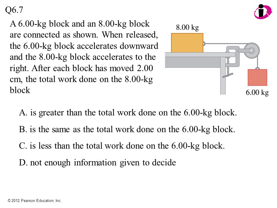 © 2012 Pearson Education, Inc. A 6.00-kg block and an 8.00-kg block are connected as shown.