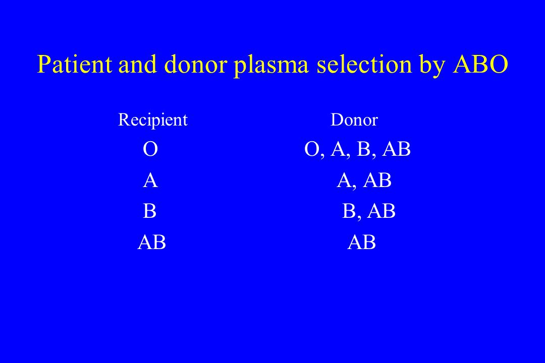 Patient and donor plasma selection by ABO Recipient Donor O O, A, B, AB AA, AB B B, AB AB AB