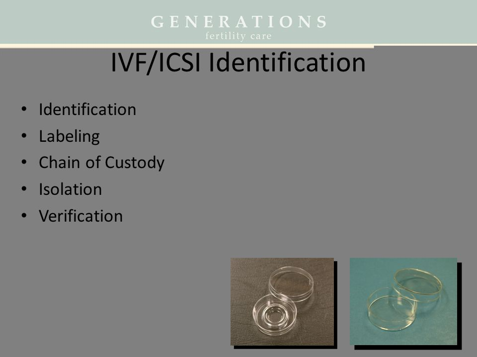 IVF/ICSI Identification Identification Labeling Chain of Custody Isolation Verification