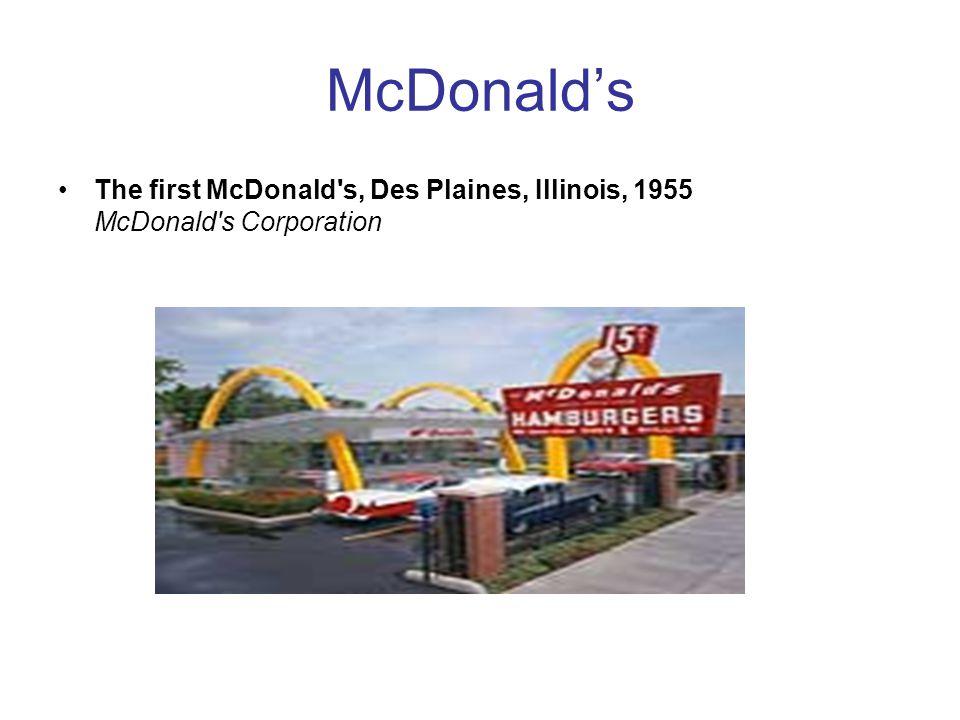 McDonald's The first McDonald's, Des Plaines, Illinois, 1955 McDonald's Corporation