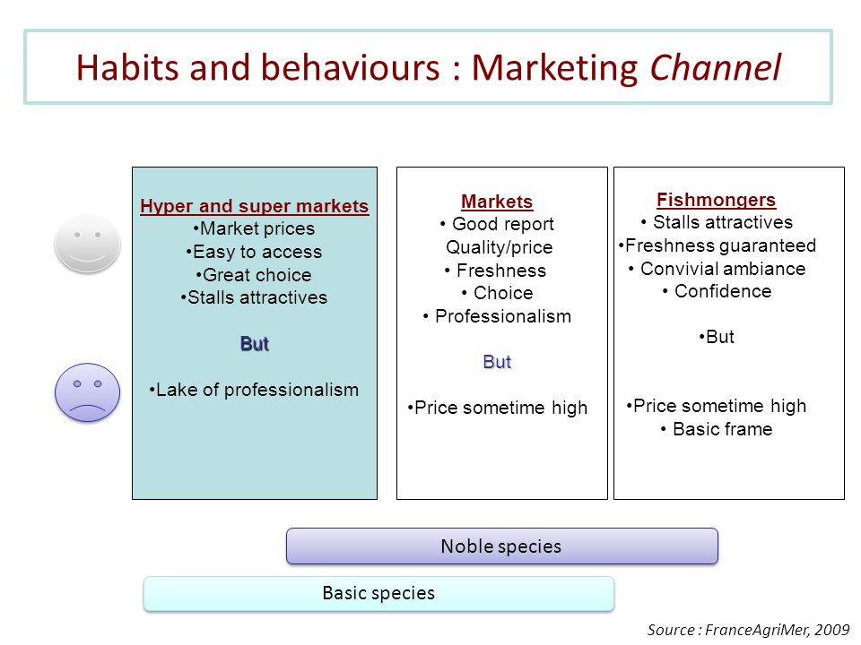 Habits and behaviours : Marketing Channel Source : FranceAgriMer, 2009 Noble species Basic species Hyper and super markets Market prices Easy to access Great choice Stalls attractivesBut Lake of professionalism Markets Good report Quality/price Freshness Choice ProfessionalismBut Price sometime high Fishmongers Stalls attractives Freshness guaranteed Convivial ambiance Confidence But Price sometime high Basic frame
