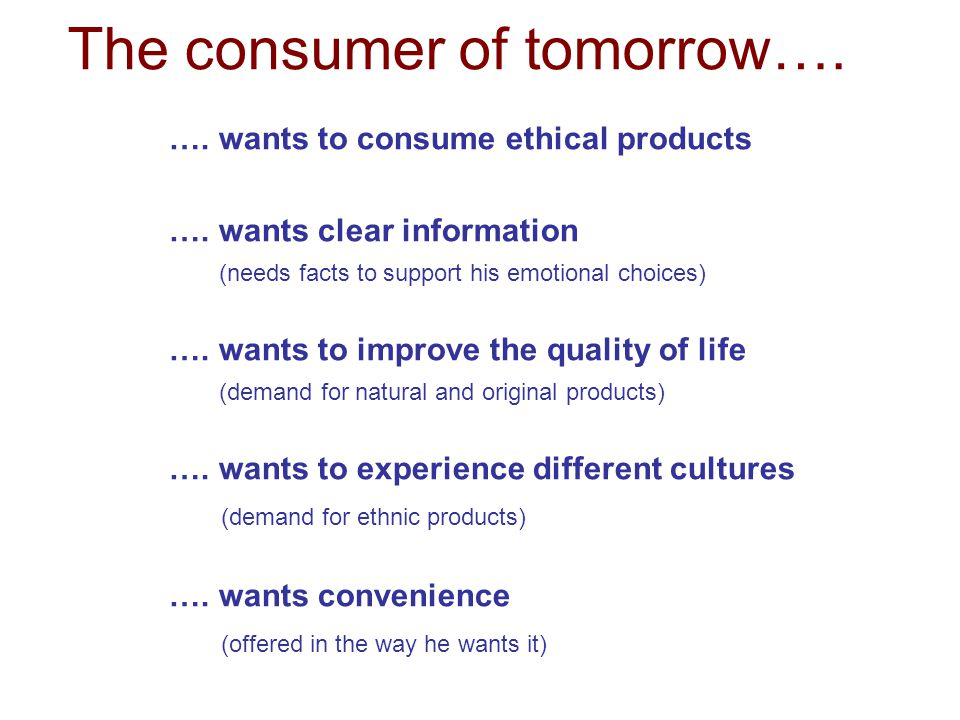 ….wants to consume ethical products ….