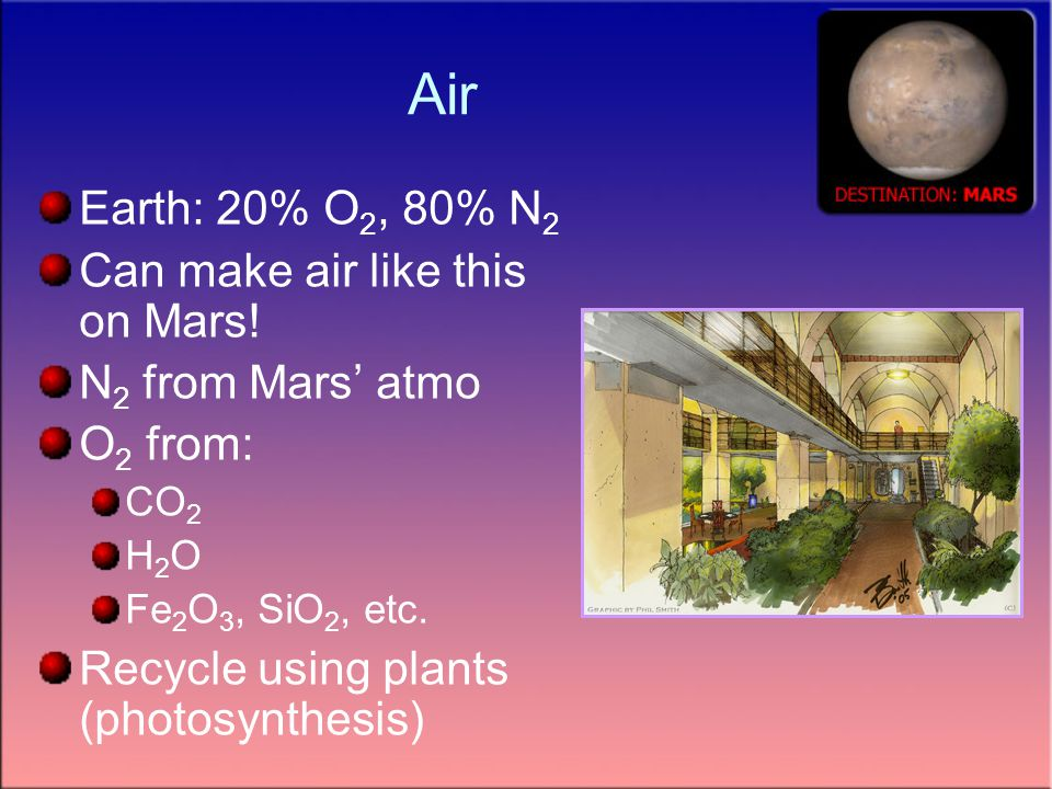 Air Earth: 20% O 2, 80% N 2 Can make air like this on Mars.