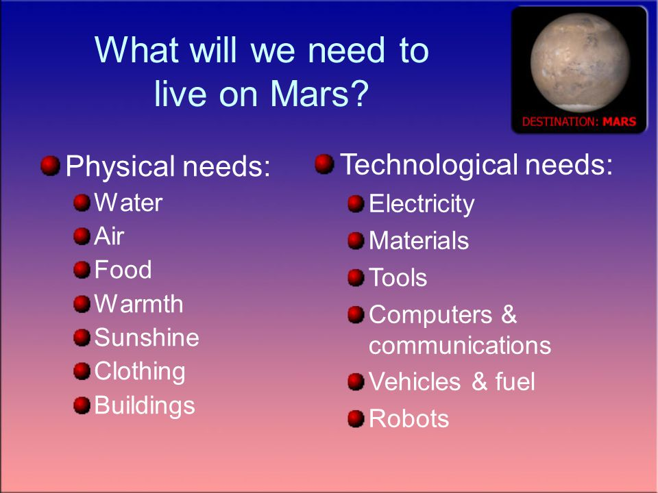 What will we need to live on Mars.