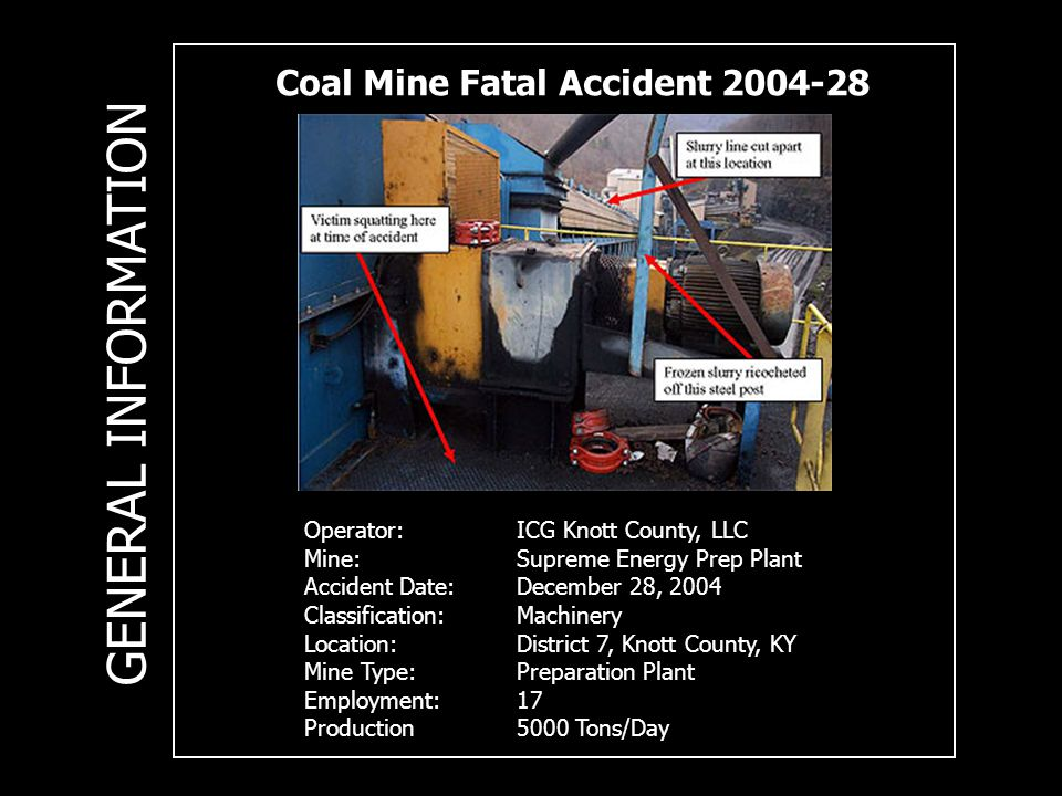 Coal Mine Fatal Accident 2004-28 Operator:ICG Knott County, LLC Mine:Supreme Energy Prep Plant Accident Date:December 28, 2004 Classification: Machinery Location: District 7, Knott County, KY Mine Type: Preparation Plant Employment:17 Production5000 Tons/Day GENERAL INFORMATION