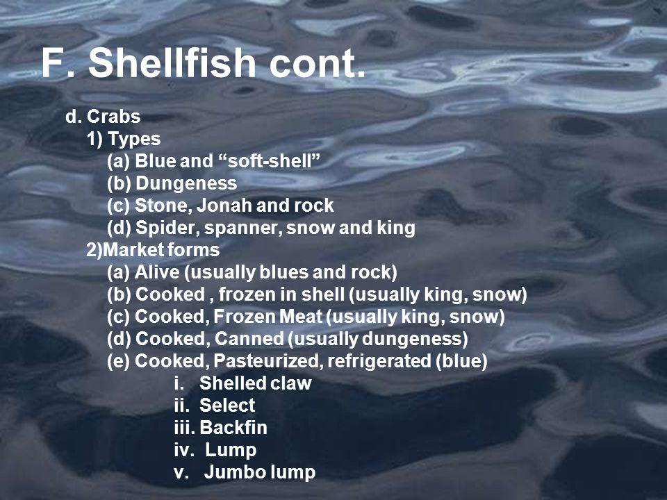 F. Shellfish cont. d.