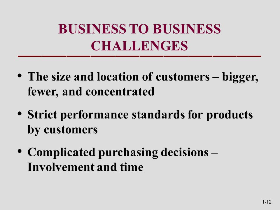 BUSINESS TO BUSINESS CHALLENGES The size and location of customers – bigger, fewer, and concentrated Strict performance standards for products by customers Complicated purchasing decisions – Involvement and time 1-12