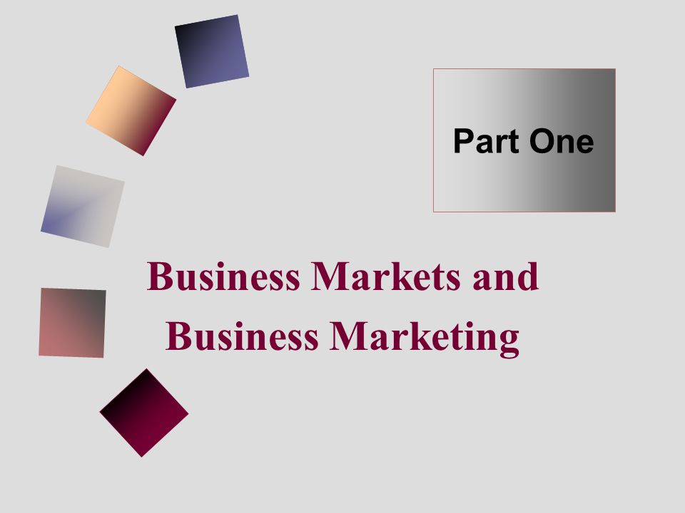 Business Markets and Business Marketing Part One