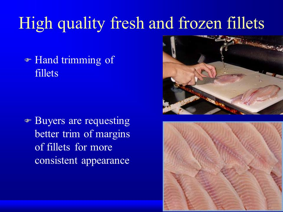 High quality fresh and frozen fillets F Hand trimming of fillets F Buyers are requesting better trim of margins of fillets for more consistent appeara