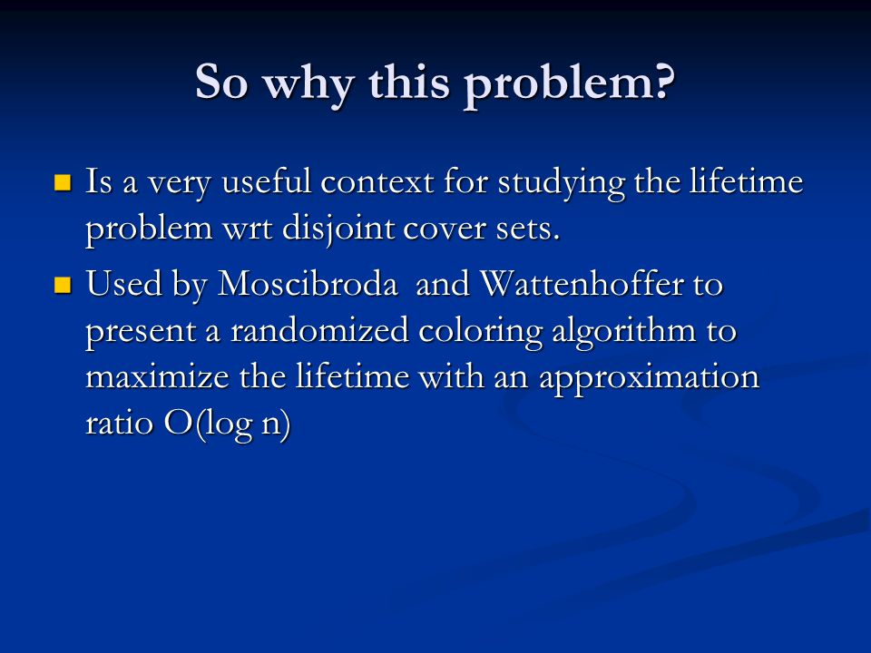 O(log Δ) approximation algorithm Phase 1: Each vertex is either colored or gets frozen Phase 1: Each vertex is either colored or gets frozen Let l = δ/(c ln Δ), c is a large constant Let l = δ/(c ln Δ), c is a large constant Order the vertices as v 1, v 2, …, v n to process.