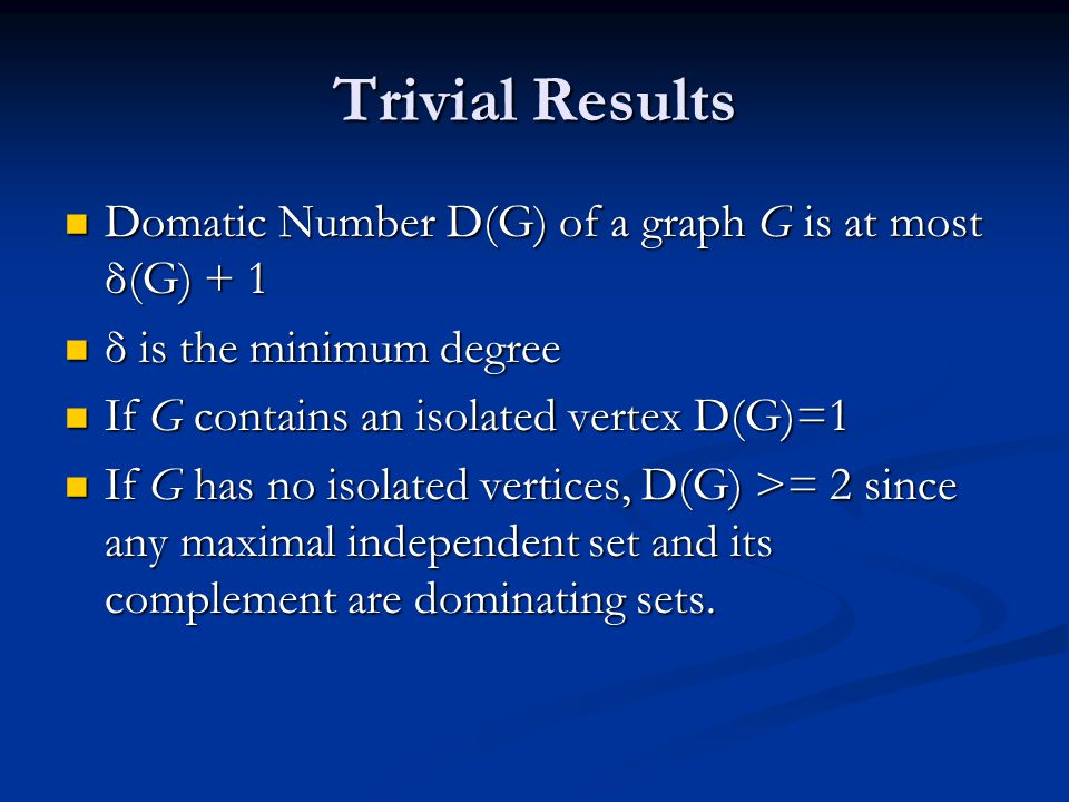 Overview of results Notice that the results bound in terms of parameters of the graph and not the size of the Optimal solution.