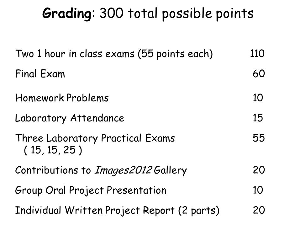 Grading: 300 total possible points Two 1 hour in class exams (55 points each) 110 Final Exam 60 Homework Problems 10 Laboratory Attendance 15 Three La