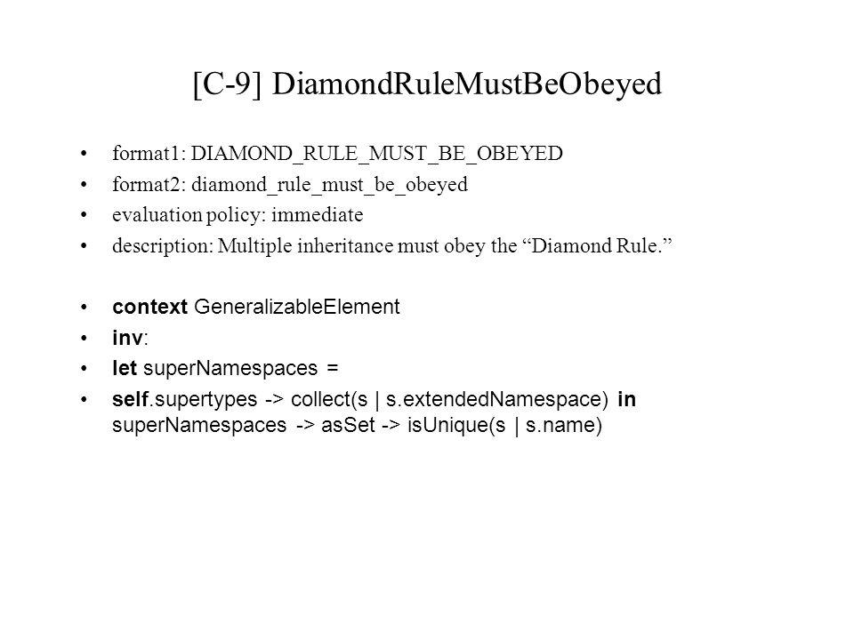 [C-9] DiamondRuleMustBeObeyed format1: DIAMOND_RULE_MUST_BE_OBEYED format2: diamond_rule_must_be_obeyed evaluation policy: immediate description: Mult