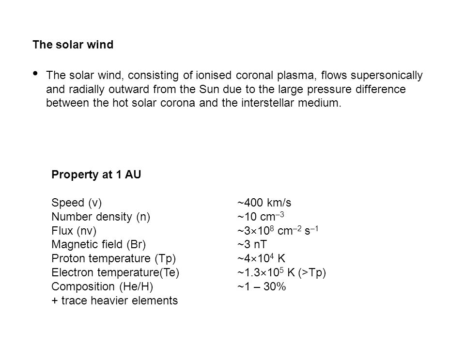 Property at 1 AU Speed (v)~400 km/s Number density (n)~10 cm –3 Flux (nv)~3  10 8 cm –2 s –1 Magnetic field (Br)~3 nT Proton temperature (Tp)~4  10 4 K Electron temperature(Te)~1.3  10 5 K (>Tp) Composition (He/H)~1 – 30% + trace heavier elements The solar wind The solar wind, consisting of ionised coronal plasma, flows supersonically and radially outward from the Sun due to the large pressure difference between the hot solar corona and the interstellar medium.