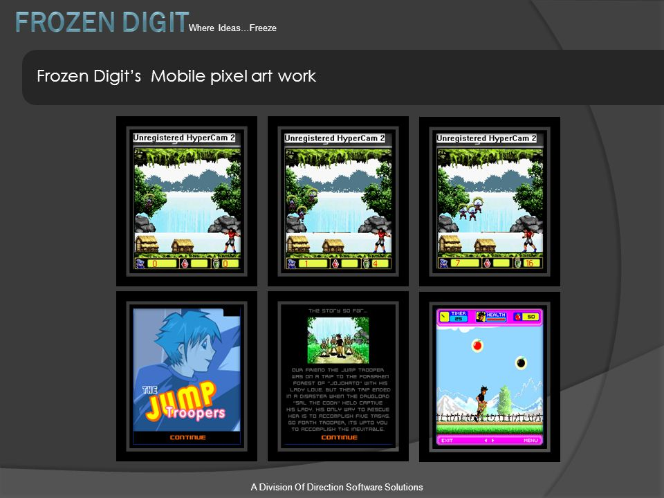 A Division Of Direction Software Solutions Frozen Digit's Mobile pixel art work Where Ideas…Freeze