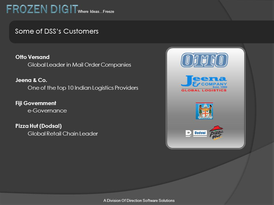 A Division Of Direction Software Solutions Some of DSS's Customers Otto Versand Global Leader in Mail Order Companies Jeena & Co. One of the top 10 In