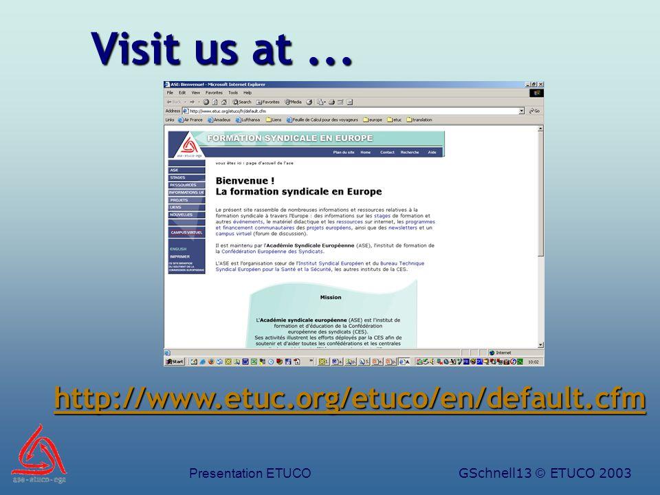 Presentation ETUCOGSchnell13 © ETUCO 2003 Visit us at... http://www.etuc.org/etuco/en/default.cfm