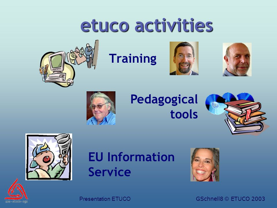 Presentation ETUCOGSchnell9 © ETUCO 2003 Training Training Eurotrainers Young Trade Union Leaders (ETC) Project & Strategic Management Strategic Management of TU