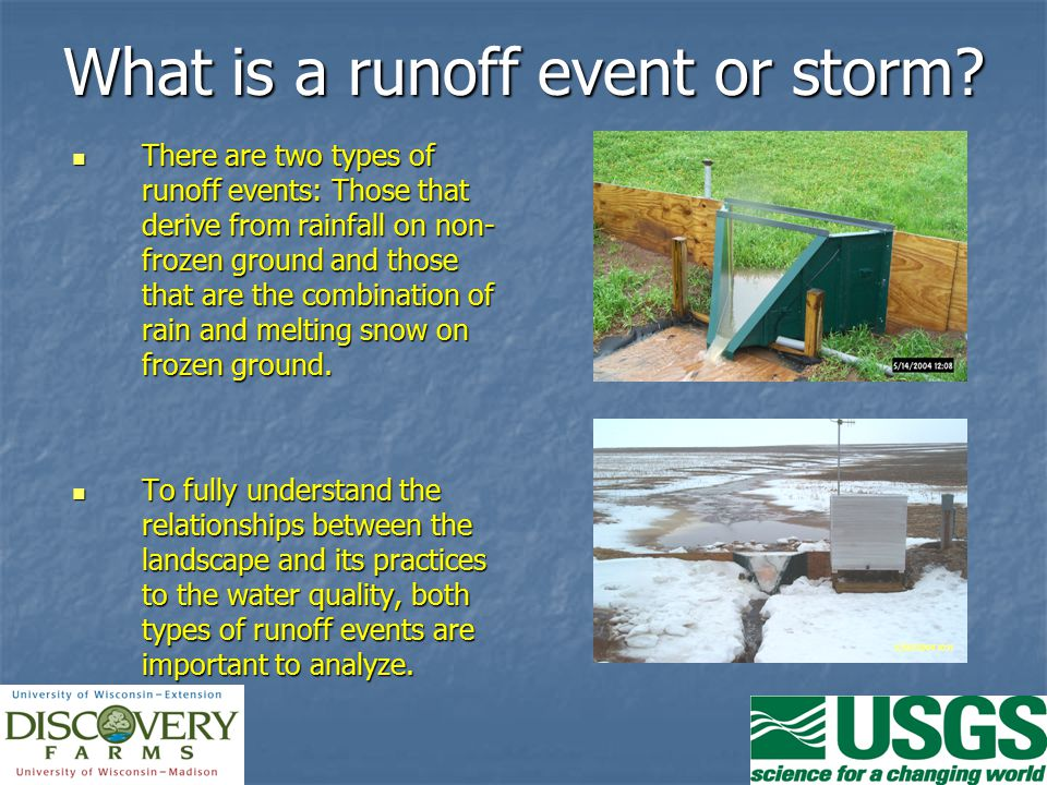 What is a runoff event or storm.