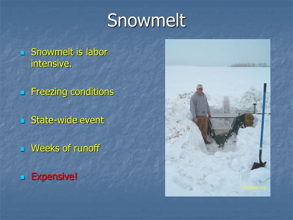 Snowmelt Snowmelt is labor intensive.Snowmelt is labor intensive.