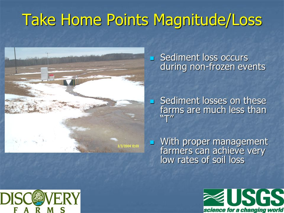 Take Home Points Magnitude/Loss Sediment loss occurs during non-frozen events Sediment loss occurs during non-frozen events Sediment losses on these farms are much less than T Sediment losses on these farms are much less than T With proper management farmers can achieve very low rates of soil loss With proper management farmers can achieve very low rates of soil loss