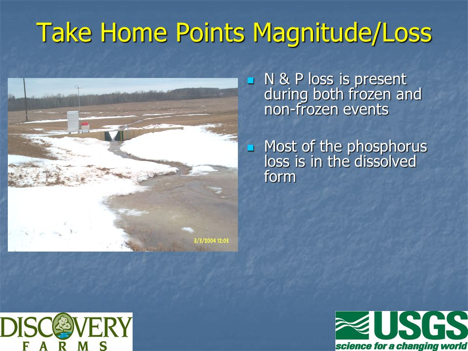 Take Home Points Magnitude/Loss N & P loss is present during both frozen and non-frozen events N & P loss is present during both frozen and non-frozen events Most of the phosphorus loss is in the dissolved form Most of the phosphorus loss is in the dissolved form