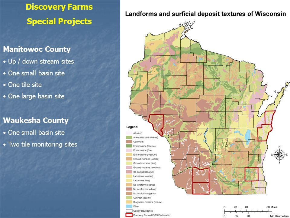 Discovery Farms Special Projects Manitowoc County Up / down stream sites One small basin site One tile site One large basin site Waukesha County One small basin site Two tile monitoring sites