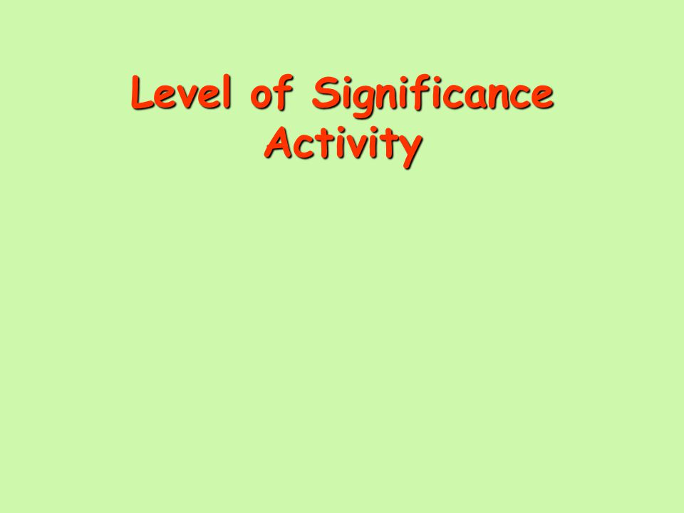 Level of Significance Activity
