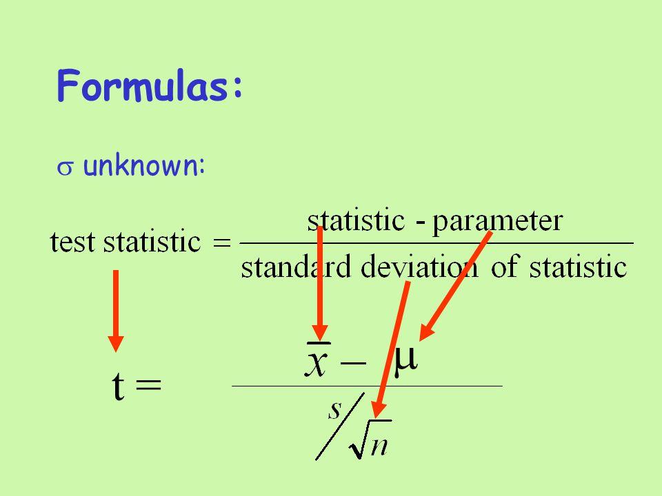 Formulas:  unknown: t = 