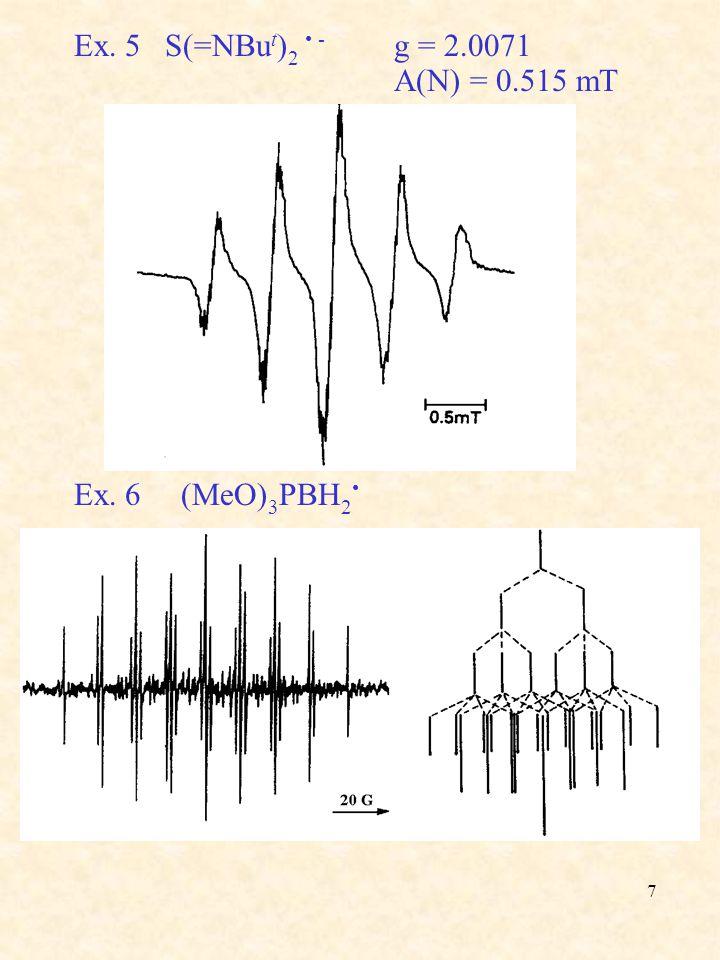 7 Ex. 5 S(=NBu t ) 2 - g = 2.0071 A(N) = 0.515 mT Ex. 6 (MeO) 3 PBH 2