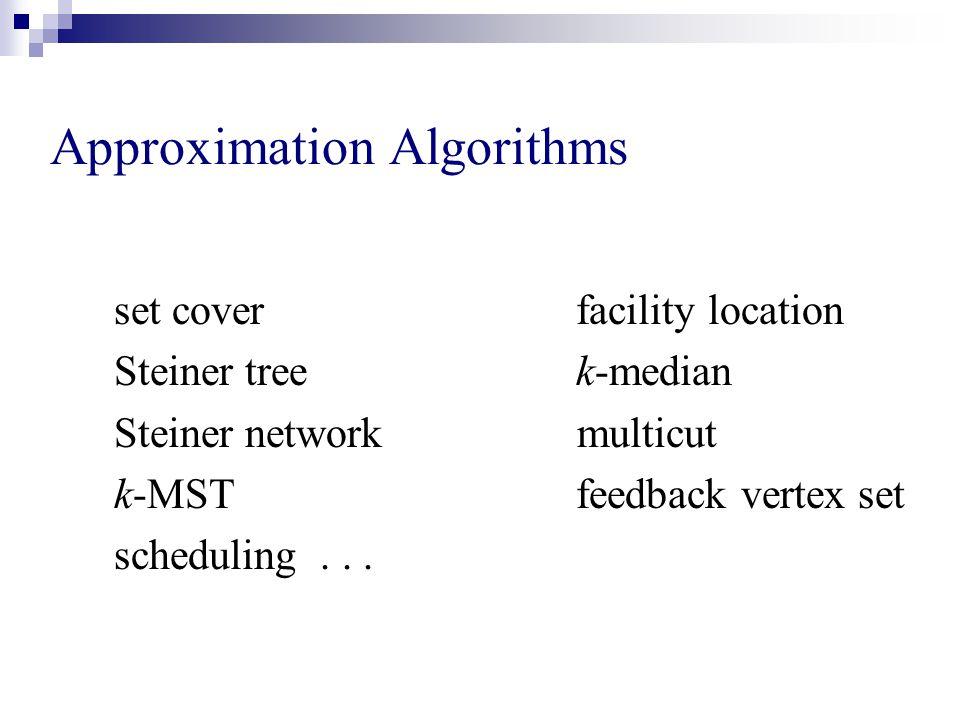 Approximation Algorithms set cover facility location Steiner tree k-median Steiner network multicut k-MST feedback vertex set scheduling...