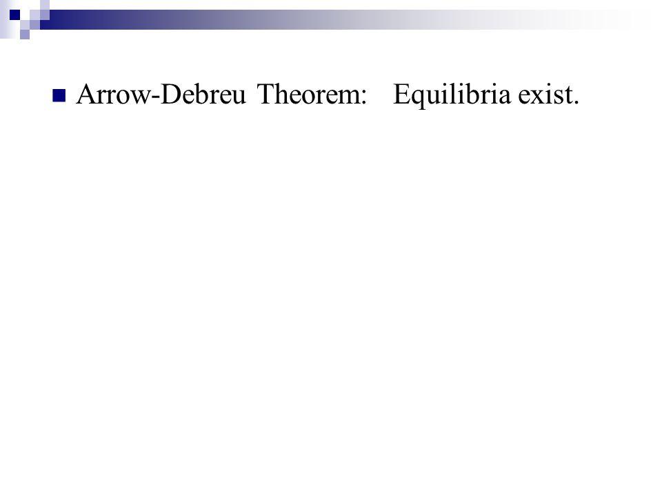Arrow-Debreu Theorem: Equilibria exist.
