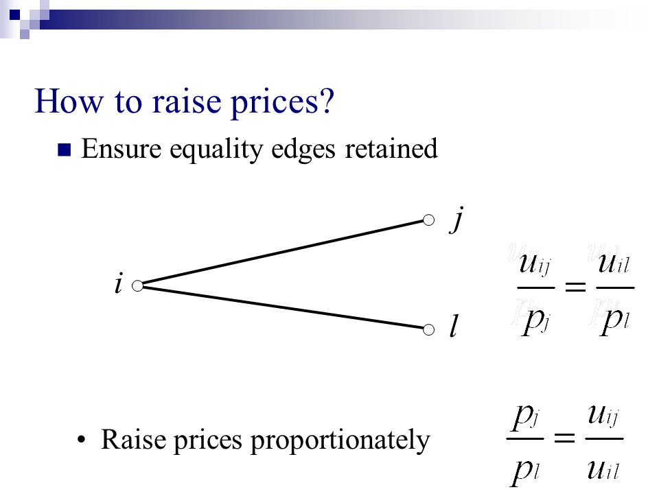 How to raise prices? Ensure equality edges retained i j l Raise prices proportionately