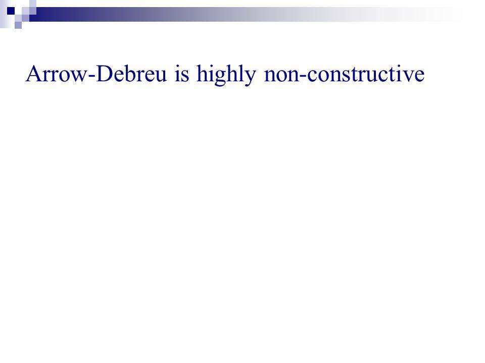 Arrow-Debreu is highly non-constructive