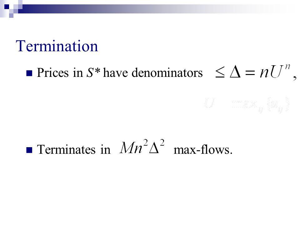 Termination Prices in S* have denominators Terminates in max-flows.