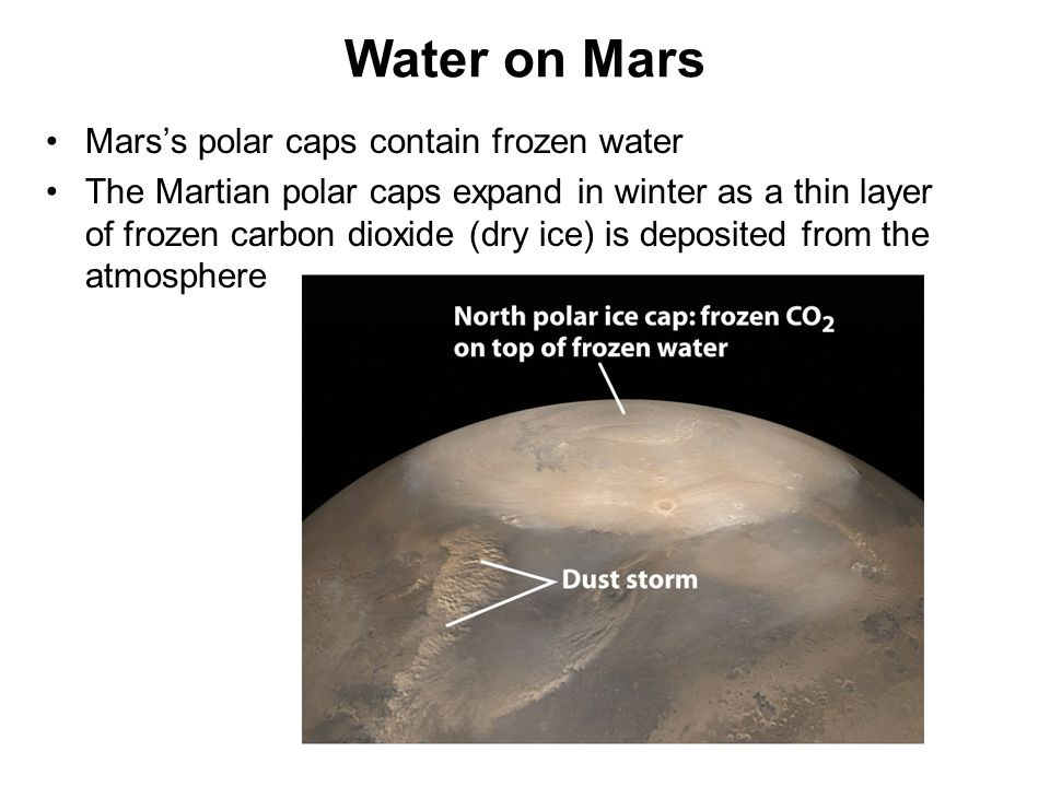 Mars's polar caps contain frozen water The Martian polar caps expand in winter as a thin layer of frozen carbon dioxide (dry ice) is deposited from th