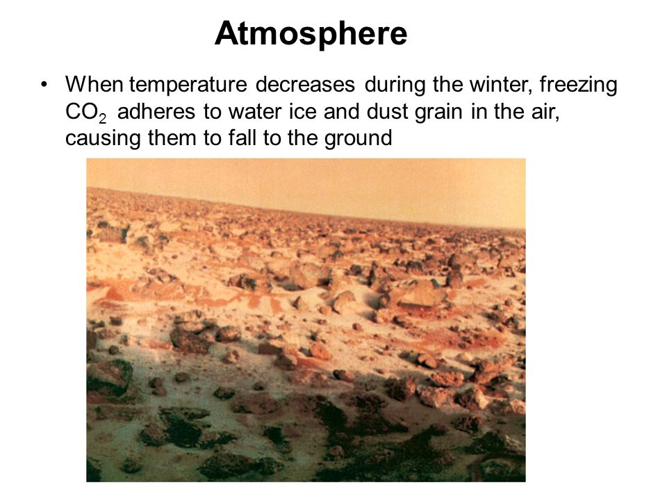 Atmosphere When temperature decreases during the winter, freezing CO 2 adheres to water ice and dust grain in the air, causing them to fall to the gro