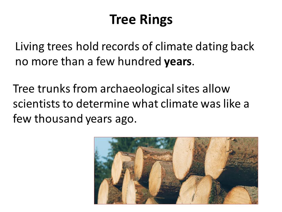 Tree Rings Living trees hold records of climate dating back no more than a few hundred years. Tree trunks from archaeological sites allow scientists t
