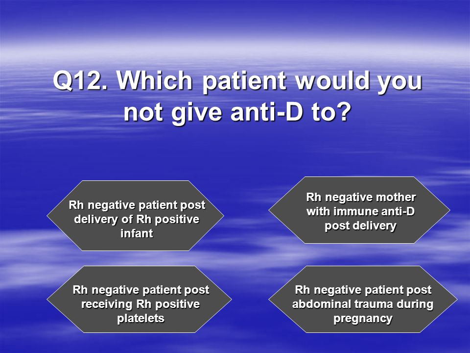 Q12. Which patient would you not give anti-D to.