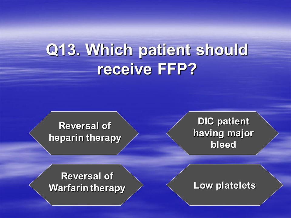 Q13. Which patient should receive FFP.