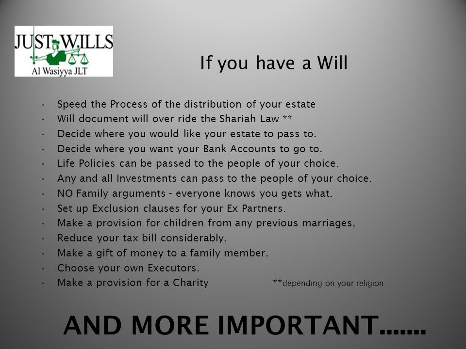 If you have a Will Speed the Process of the distribution of your estate Will document will over ride the Shariah Law ** Decide where you would like yo