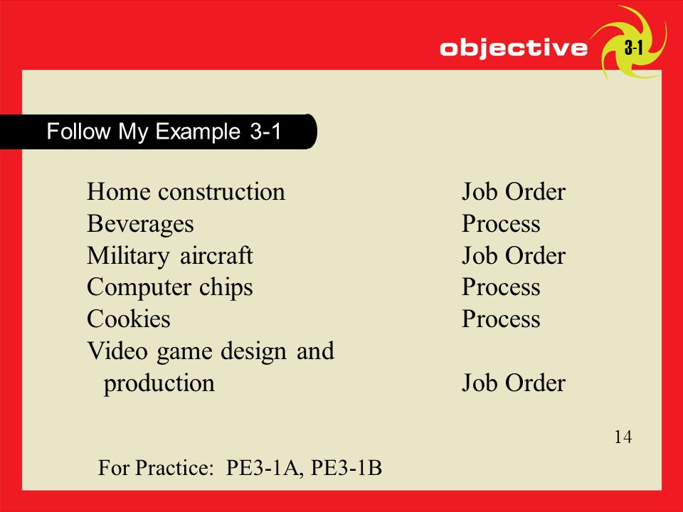 14 Click to edit Master title style 14 For Practice: PE3-1A, PE3-1B Follow My Example 3-1 14 3-1 Home constructionJob Order BeveragesProcess Military