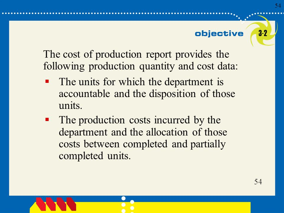 54 Click to edit Master title style 54 The cost of production report provides the following production quantity and cost data:  The units for which t