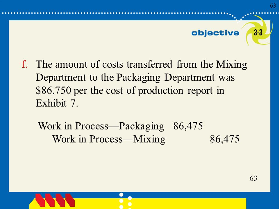 63 Click to edit Master title style 63 f.The amount of costs transferred from the Mixing Department to the Packaging Department was $86,750 per the co