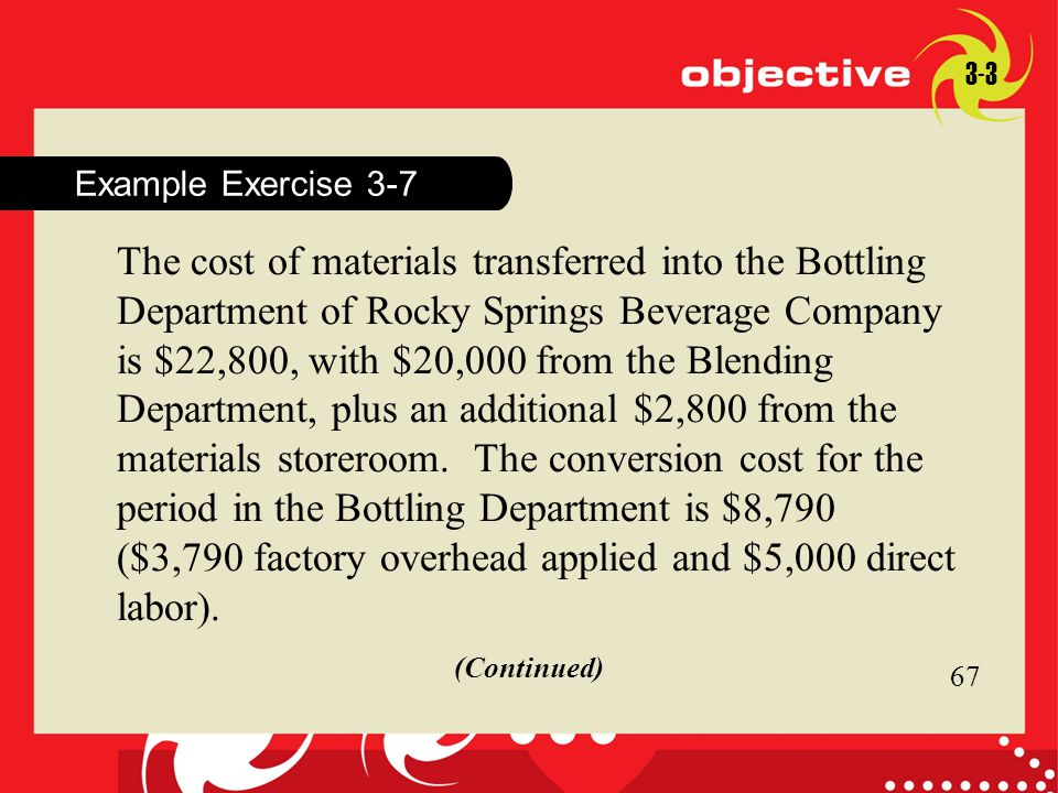 67 Click to edit Master title style 67 Example Exercise 3-7 3-3 The cost of materials transferred into the Bottling Department of Rocky Springs Bevera