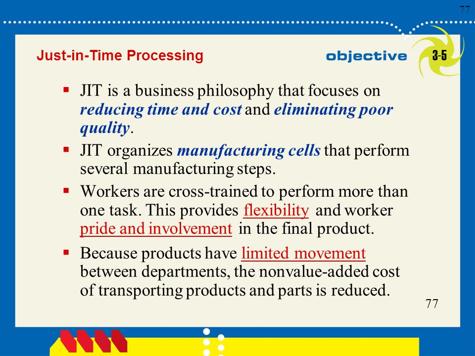 77 Click to edit Master title style 77  JIT is a business philosophy that focuses on reducing time and cost and eliminating poor quality.  JIT organ